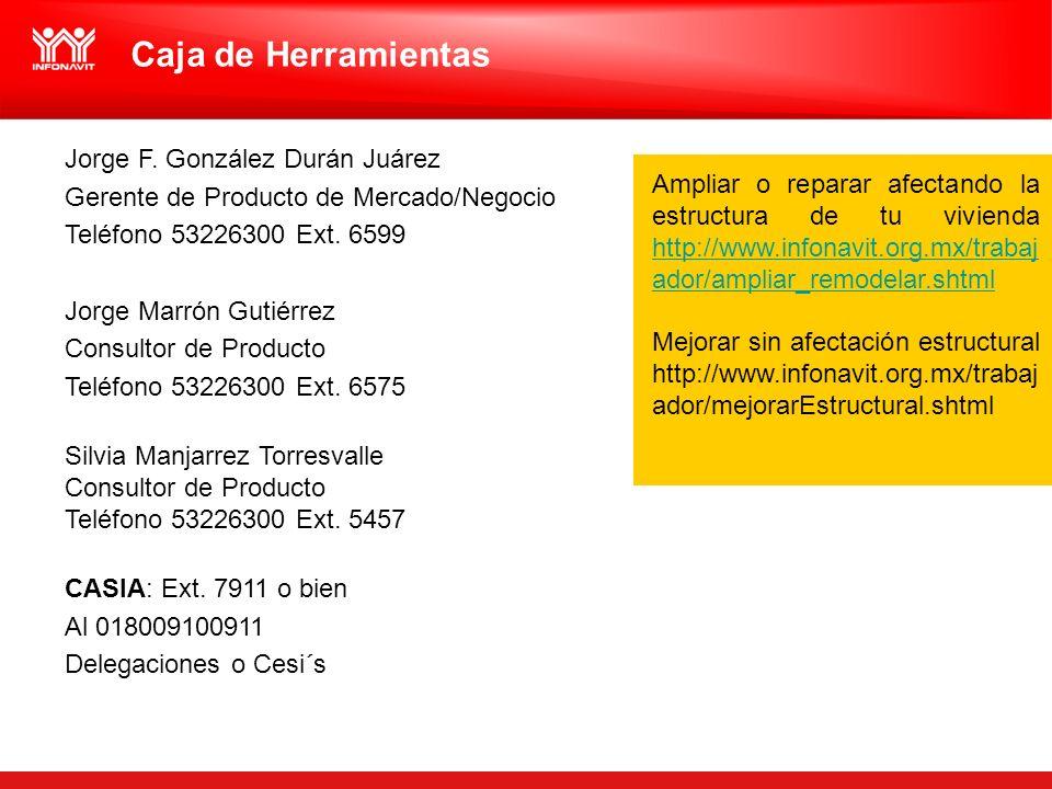 Caja de Herramientas Jorge F. González Durán Juárez Gerente de Producto de Mercado/Negocio Teléfono 53226300 Ext. 6599 Jorge Marrón Gutiérrez Consulto