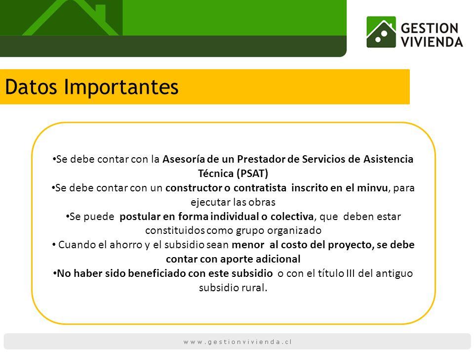 Datos Importantes Se debe contar con la Asesoría de un Prestador de Servicios de Asistencia Técnica (PSAT) Se debe contar con un constructor o contrat
