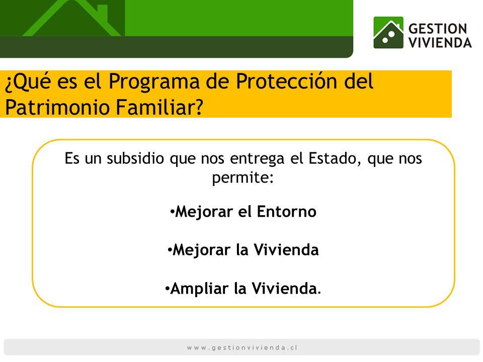¿Qué es el Programa de Protección del Patrimonio Familiar? Es un subsidio que nos entrega el Estado, que nos permite: Mejorar el Entorno Mejorar la Vi