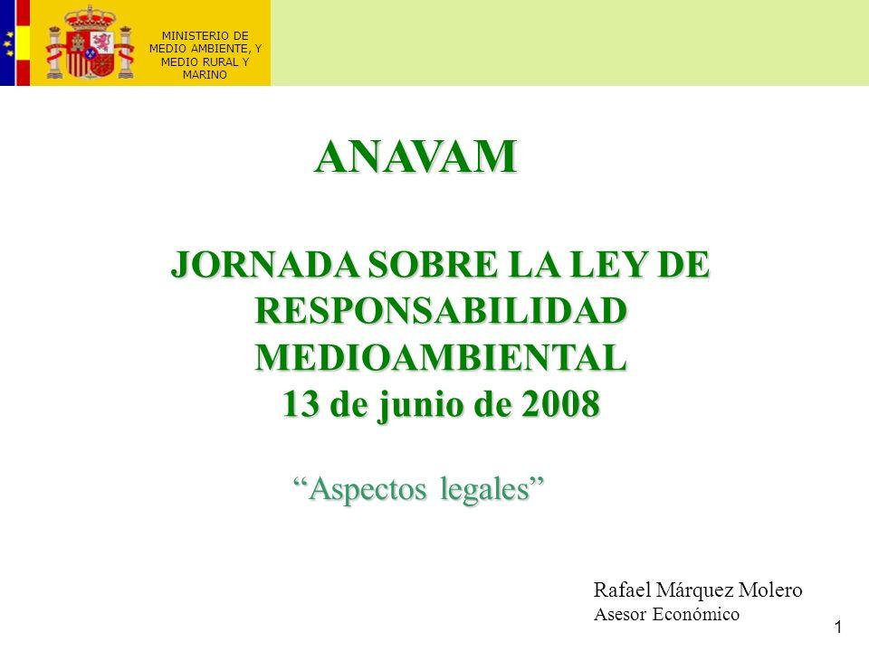 1 MINISTERIO DE MEDIO AMBIENTE, Y MEDIO RURAL Y MARINO JORNADA SOBRE LA LEY DE RESPONSABILIDAD MEDIOAMBIENTAL 13 de junio de 2008 Aspectos legales Raf