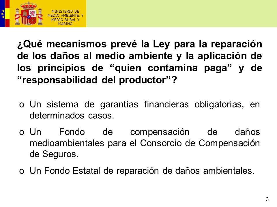 3 oUn sistema de garantías financieras obligatorias, en determinados casos. oUn Fondo de compensación de daños medioambientales para el Consorcio de C