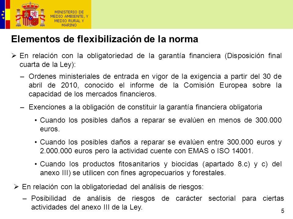 5 MINISTERIO DE MEDIO AMBIENTE, Y MEDIO RURAL Y MARINO Elementos de flexibilización de la norma En relación con la obligatoriedad de la garantía finan