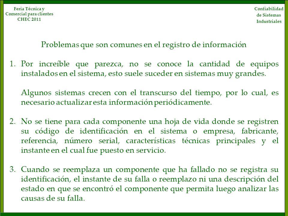 Confiabilidad de Sistemas Industriales Feria Técnica y Comercial para clientes CHEC 2011 Problemas que son comunes en el registro de información 1.Por