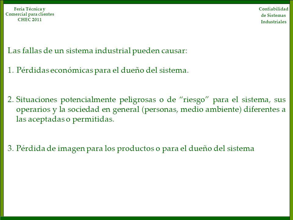 Las fallas de un sistema industrial pueden causar: 1. Pérdidas económicas para el dueño del sistema. 2.Situaciones potencialmente peligrosas o de ries