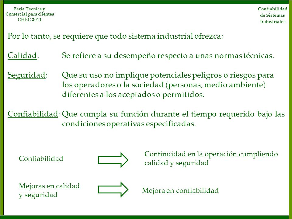 Confiabilidad de Sistemas Industriales Feria Técnica y Comercial para clientes CHEC 2011 Tipos de componentes No reparable: Aquel que se descarta la primera vez que falla.