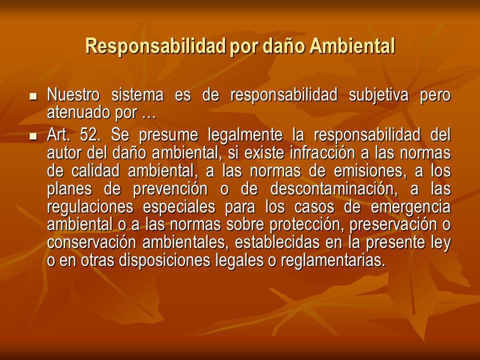 Responsabilidad por daño Ambiental Nuestro sistema es de responsabilidad subjetiva pero atenuado por … Nuestro sistema es de responsabilidad subjetiva pero atenuado por … Art.