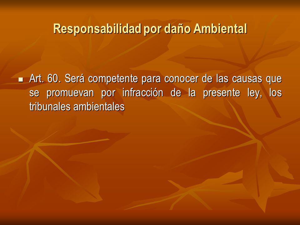 Responsabilidad por daño Ambiental Art.60.