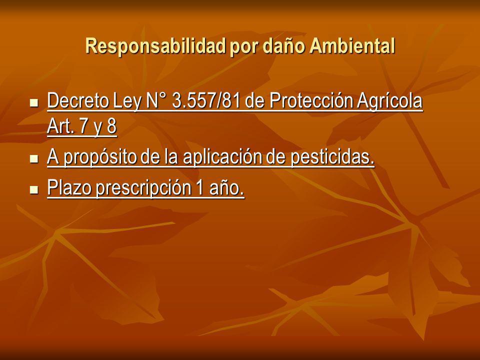 Responsabilidad por daño Ambiental Decreto Ley N° 3.557/81 de Protección Agrícola Art.