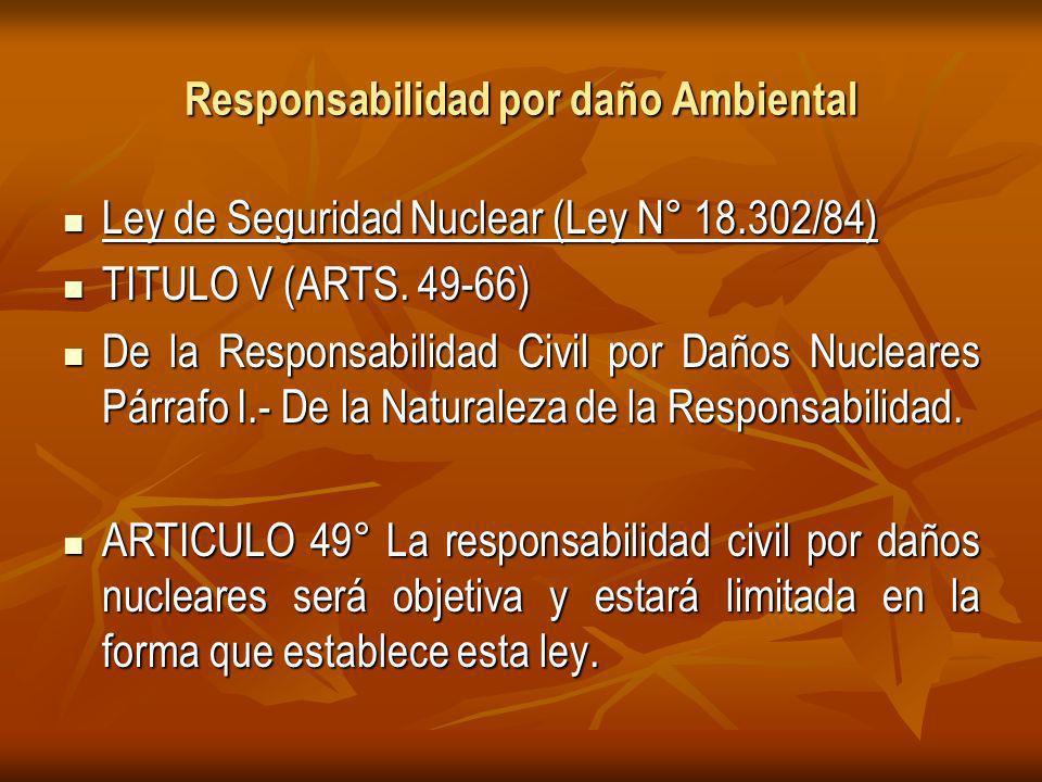 Responsabilidad por daño Ambiental Ley de Seguridad Nuclear (Ley N° 18.302/84) Ley de Seguridad Nuclear (Ley N° 18.302/84) TITULO V (ARTS.