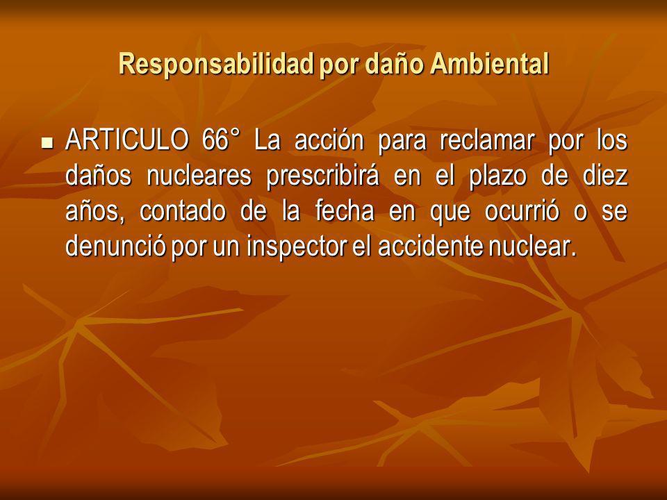 Responsabilidad por daño Ambiental ARTICULO 66° La acción para reclamar por los daños nucleares prescribirá en el plazo de diez años, contado de la fecha en que ocurrió o se denunció por un inspector el accidente nuclear.