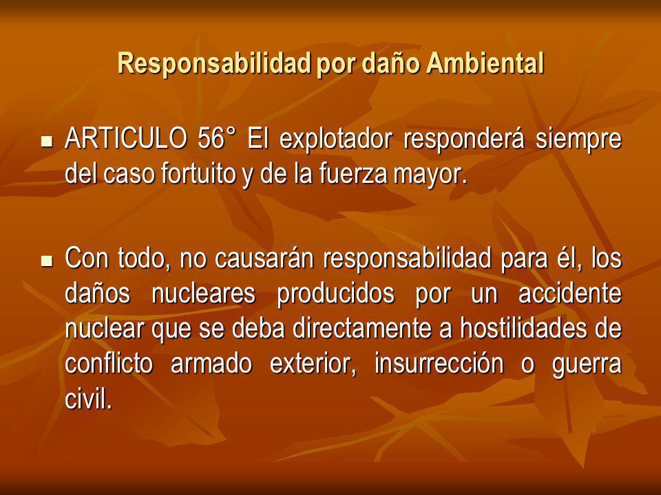 Responsabilidad por daño Ambiental ARTICULO 56° El explotador responderá siempre del caso fortuito y de la fuerza mayor.