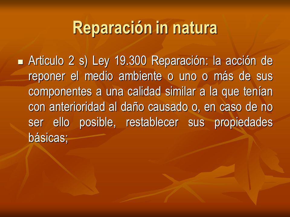 Reparación in natura Articulo 2 s) Ley 19.300 Reparación: la acción de reponer el medio ambiente o uno o más de sus componentes a una calidad similar a la que tenían con anterioridad al daño causado o, en caso de no ser ello posible, restablecer sus propiedades básicas; Articulo 2 s) Ley 19.300 Reparación: la acción de reponer el medio ambiente o uno o más de sus componentes a una calidad similar a la que tenían con anterioridad al daño causado o, en caso de no ser ello posible, restablecer sus propiedades básicas;