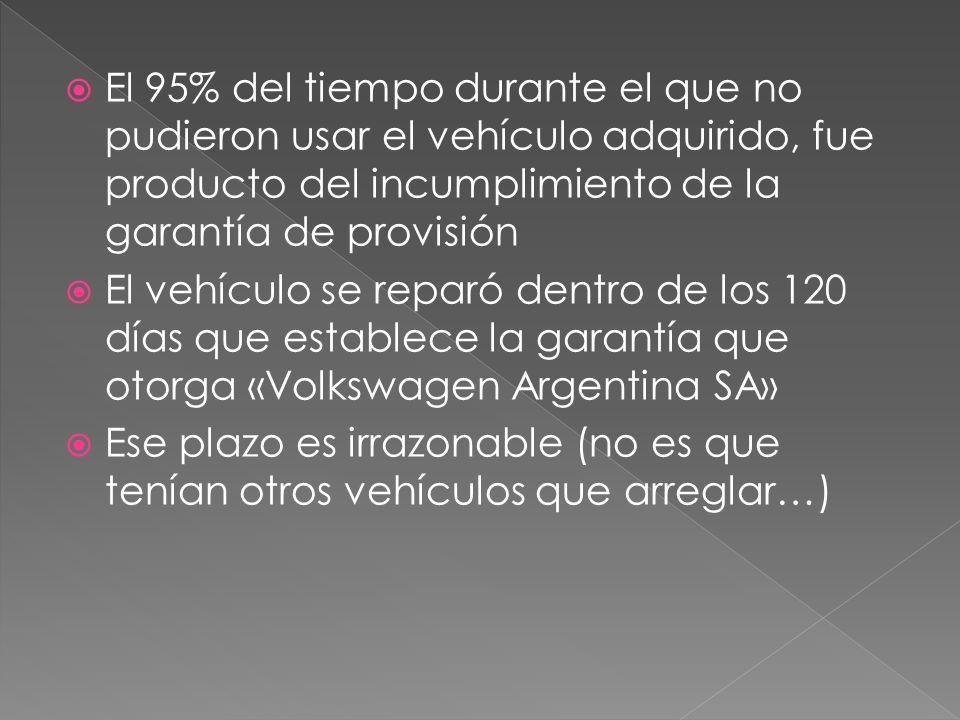 El 95% del tiempo durante el que no pudieron usar el vehículo adquirido, fue producto del incumplimiento de la garantía de provisión El vehículo se reparó dentro de los 120 días que establece la garantía que otorga «Volkswagen Argentina SA» Ese plazo es irrazonable (no es que tenían otros vehículos que arreglar…)