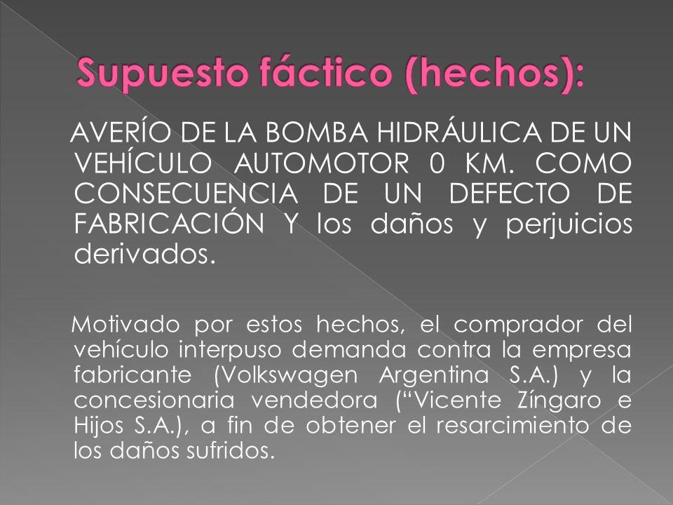 AVERÍO DE LA BOMBA HIDRÁULICA DE UN VEHÍCULO AUTOMOTOR 0 KM. COMO CONSECUENCIA DE UN DEFECTO DE FABRICACIÓN Y los daños y perjuicios derivados. Motiva