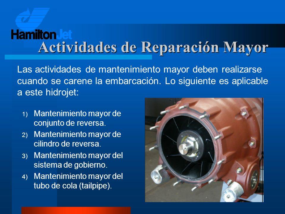 1) Mantenimiento mayor de conjunto de reversa. 2) Mantenimiento mayor de cilindro de reversa. 3) Mantenimiento mayor del sistema de gobierno. 4) Mante