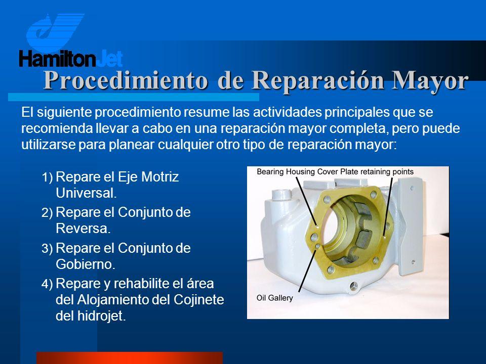 1) Repare el Eje Motriz Universal. 2) Repare el Conjunto de Reversa. 3) Repare el Conjunto de Gobierno. 4) Repare y rehabilite el área del Alojamiento