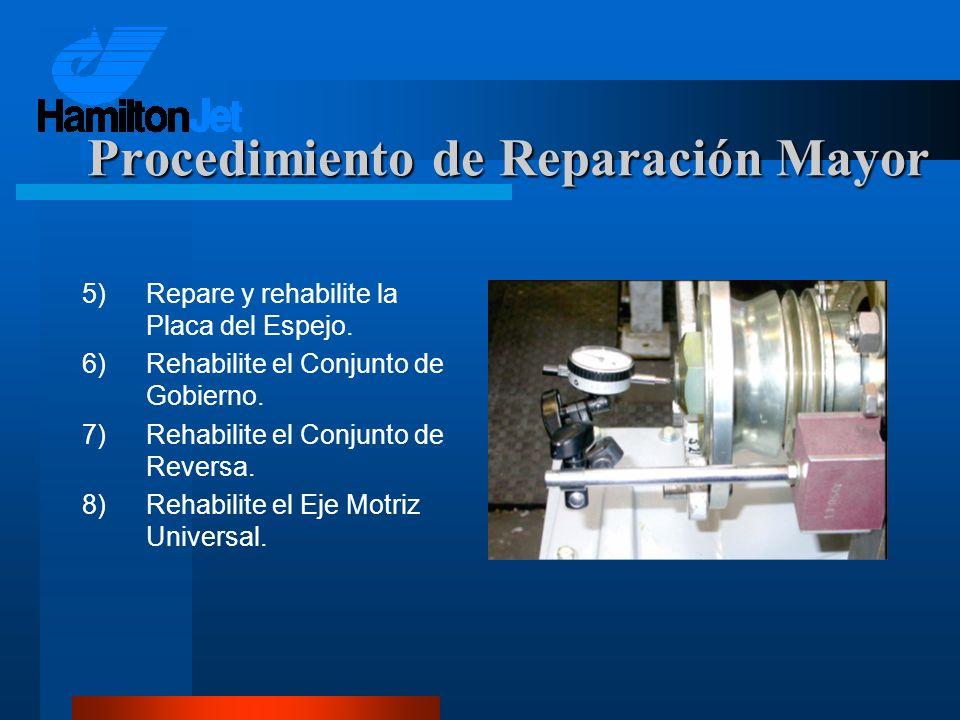 5)Repare y rehabilite la Placa del Espejo. 6)Rehabilite el Conjunto de Gobierno. 7)Rehabilite el Conjunto de Reversa. 8)Rehabilite el Eje Motriz Unive