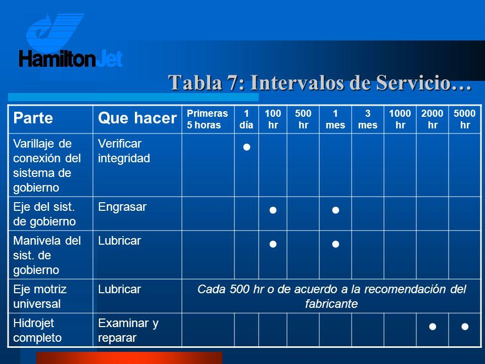 ParteQue hacer Primeras 5 horas 1 día 100 hr 500 hr 1 mes 3 mes 1000 hr 2000 hr 5000 hr Varillaje de conexión del sistema de gobierno Verificar integr