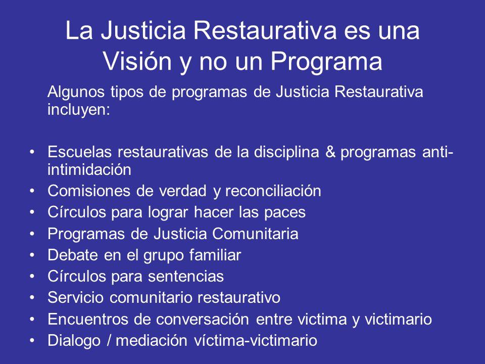 La Justicia Restaurativa es una Visión y no un Programa Algunos tipos de programas de Justicia Restaurativa incluyen: Escuelas restaurativas de la dis