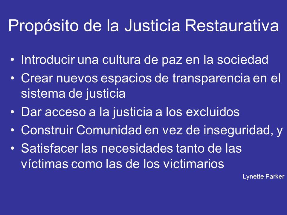 Propósito de la Justicia Restaurativa Introducir una cultura de paz en la sociedad Crear nuevos espacios de transparencia en el sistema de justicia Da