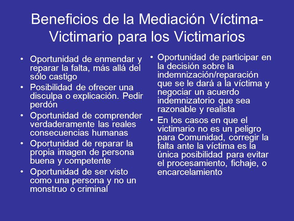 Beneficios de la Mediación Víctima- Victimario para los Victimarios Oportunidad de enmendar y reparar la falta, más allá del sólo castigo Posibilidad