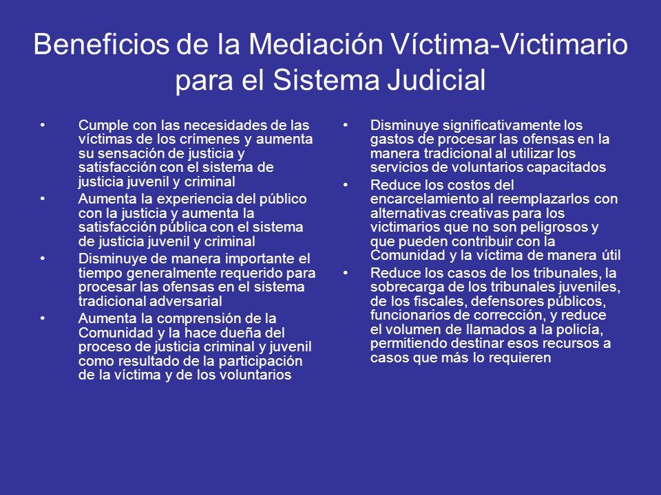 Beneficios de la Mediación Víctima-Victimario para el Sistema Judicial Cumple con las necesidades de las víctimas de los crímenes y aumenta su sensaci