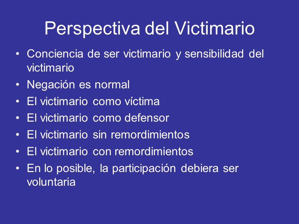 Perspectiva del Victimario Conciencia de ser victimario y sensibilidad del victimario Negación es normal El victimario como víctima El victimario como