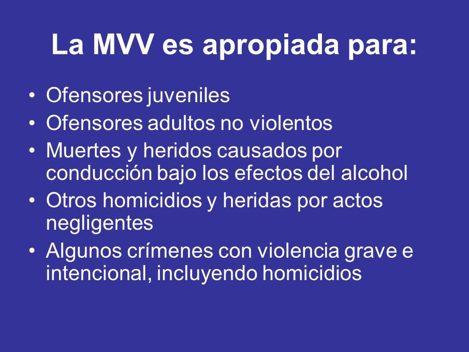 La MVV es apropiada para: Ofensores juveniles Ofensores adultos no violentos Muertes y heridos causados por conducción bajo los efectos del alcohol Ot