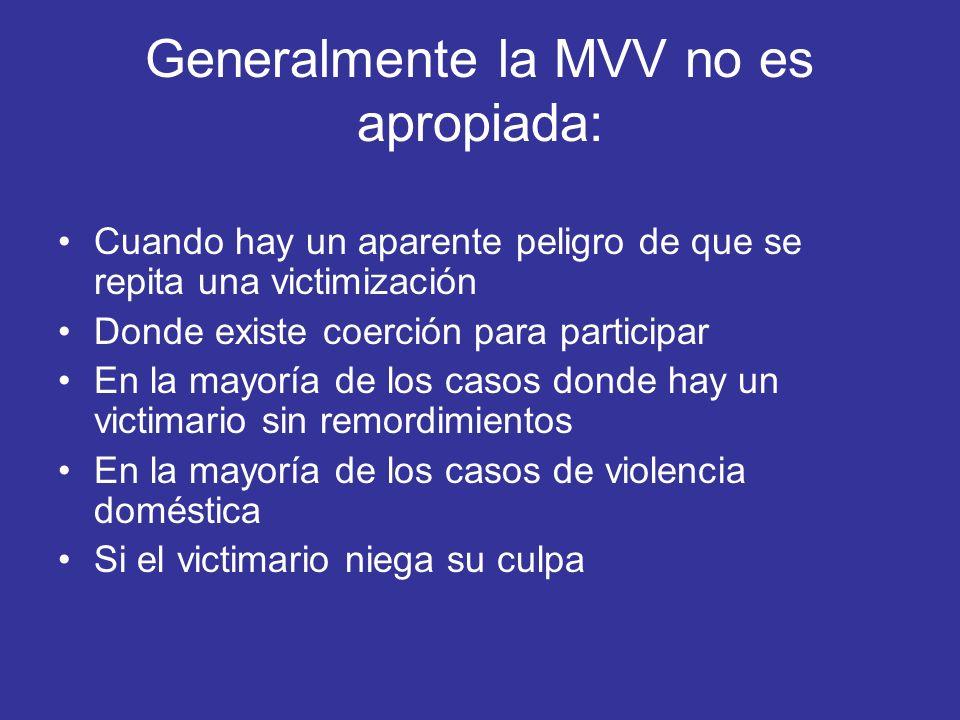 Generalmente la MVV no es apropiada: Cuando hay un aparente peligro de que se repita una victimización Donde existe coerción para participar En la may