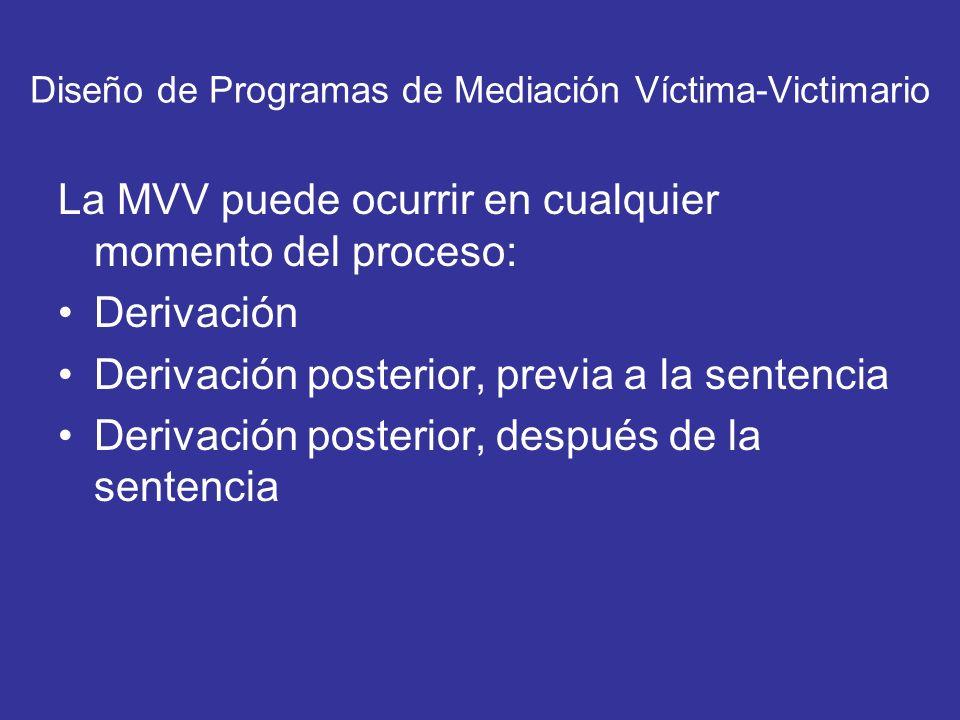 Diseño de Programas de Mediación Víctima-Victimario La MVV puede ocurrir en cualquier momento del proceso: Derivación Derivación posterior, previa a l