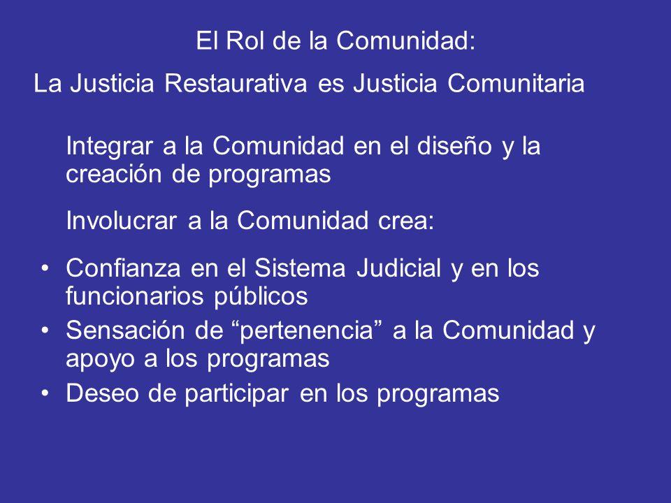 El Rol de la Comunidad: La Justicia Restaurativa es Justicia Comunitaria Integrar a la Comunidad en el diseño y la creación de programas Involucrar a