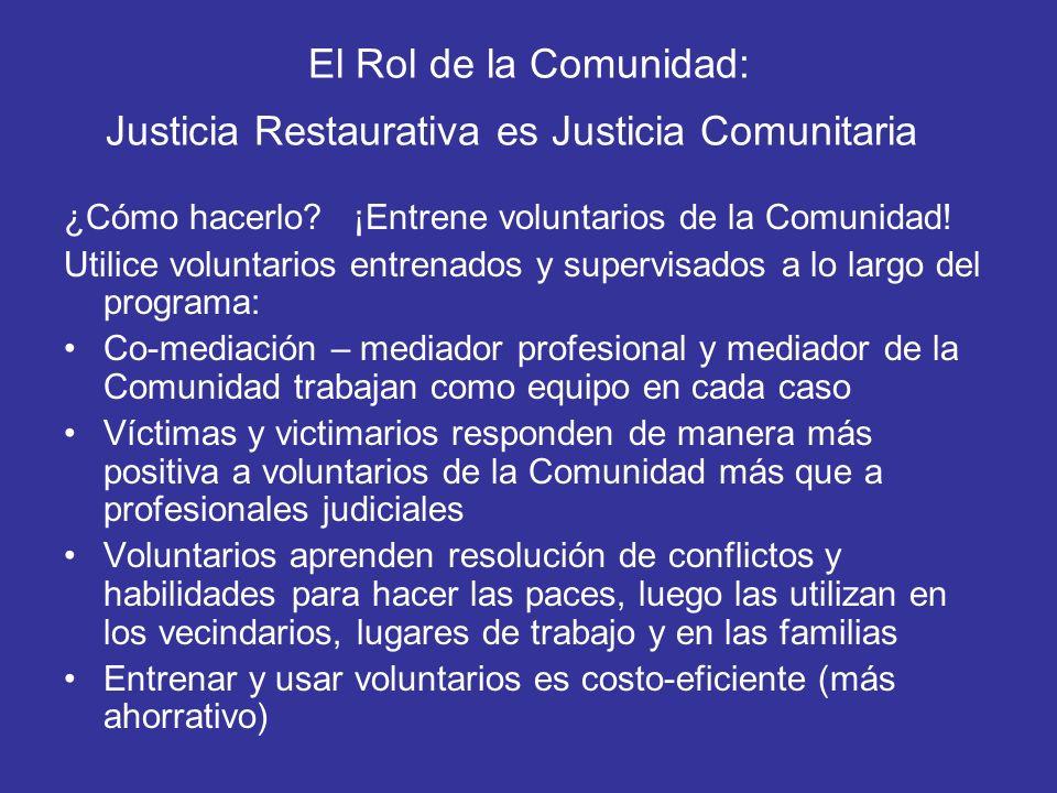 El Rol de la Comunidad: Justicia Restaurativa es Justicia Comunitaria ¿Cómo hacerlo? ¡Entrene voluntarios de la Comunidad! Utilice voluntarios entrena