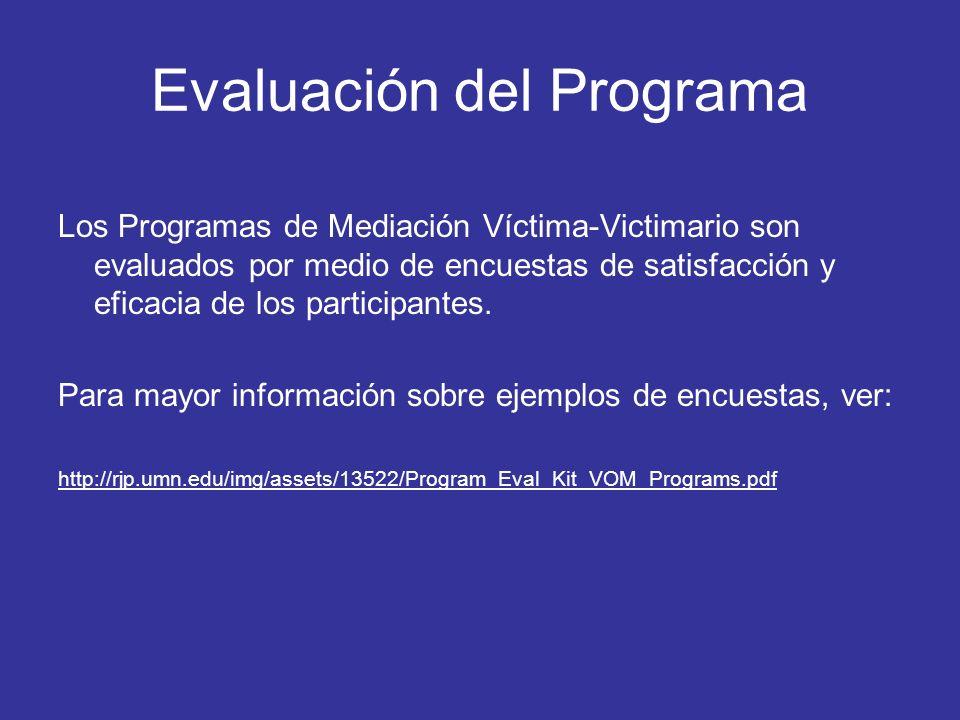 Evaluación del Programa Los Programas de Mediación Víctima-Victimario son evaluados por medio de encuestas de satisfacción y eficacia de los participa