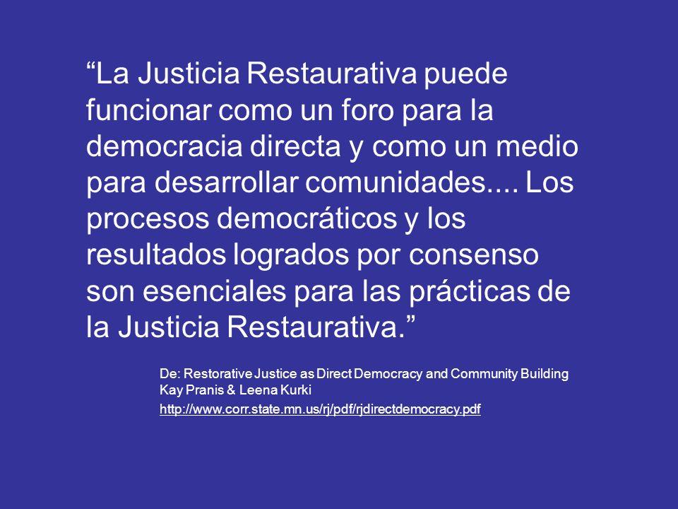 El Rol de la Comunidad: La Justicia Restaurativa es Justicia Comunitaria Integrar a la Comunidad en el diseño y la creación de programas Involucrar a la Comunidad crea: Confianza en el Sistema Judicial y en los funcionarios públicos Sensación de pertenencia a la Comunidad y apoyo a los programas Deseo de participar en los programas