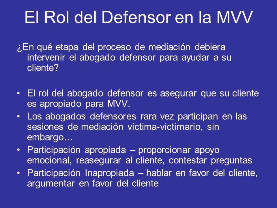 El Rol del Defensor en la MVV ¿En qué etapa del proceso de mediación debiera intervenir el abogado defensor para ayudar a su cliente? El rol del aboga