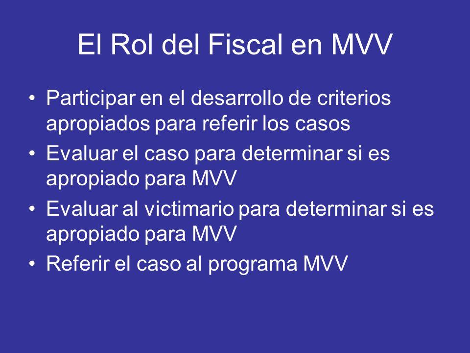 El Rol del Fiscal en MVV Participar en el desarrollo de criterios apropiados para referir los casos Evaluar el caso para determinar si es apropiado pa