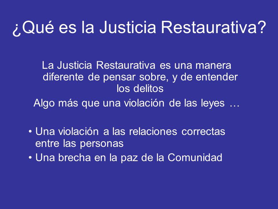 ¿Qué es la Justicia Restaurativa? La Justicia Restaurativa es una manera diferente de pensar sobre, y de entender los delitos Algo más que una violaci