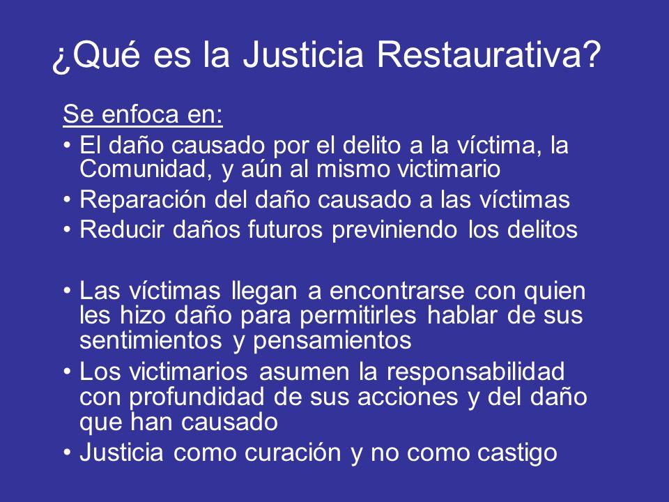 ¿Qué es la Justicia Restaurativa? Se enfoca en: El daño causado por el delito a la víctima, la Comunidad, y aún al mismo victimario Reparación del dañ