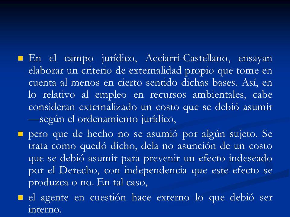 En el campo jurídico, Acciarri-Castellano, ensayan elaborar un criterio de externalidad propio que tome en cuenta al menos en cierto sentido dichas ba