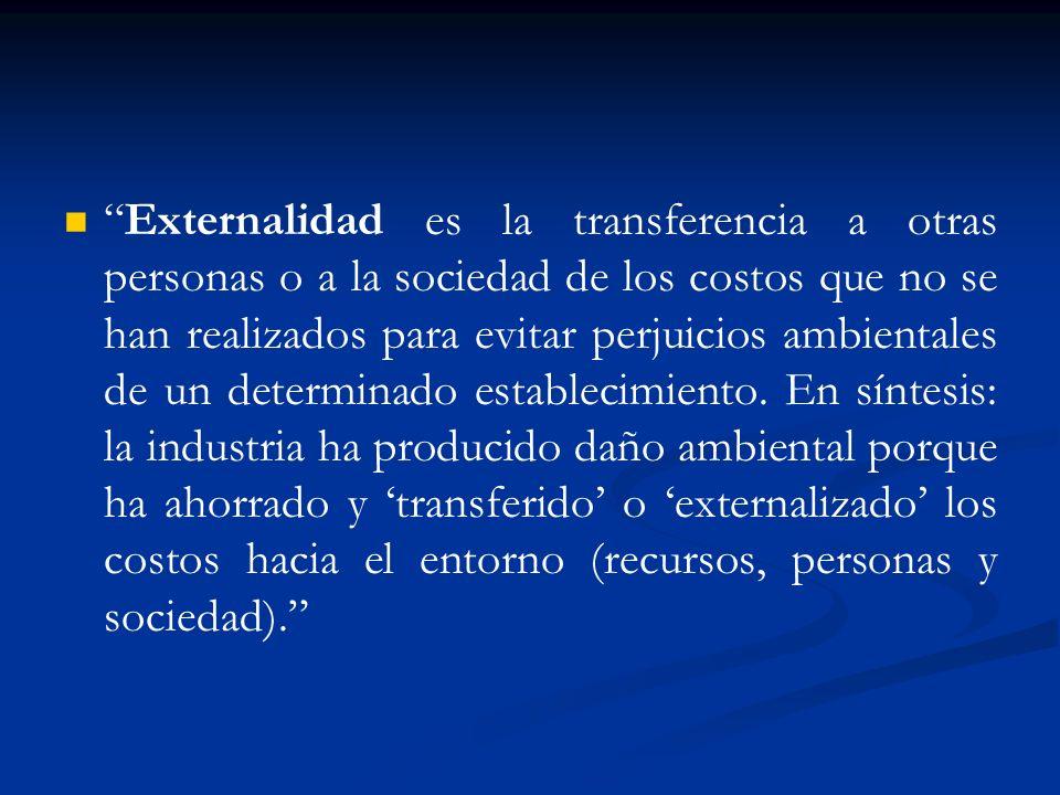 Externalidad es la transferencia a otras personas o a la sociedad de los costos que no se han realizados para evitar perjuicios ambientales de un dete