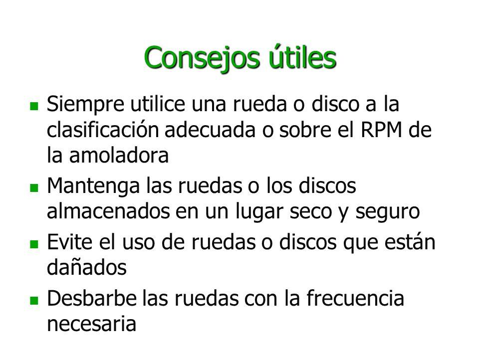 Consejos útiles Siempre utilice una rueda o disco a la clasificación adecuada o sobre el RPM de la amoladora Mantenga las ruedas o los discos almacena