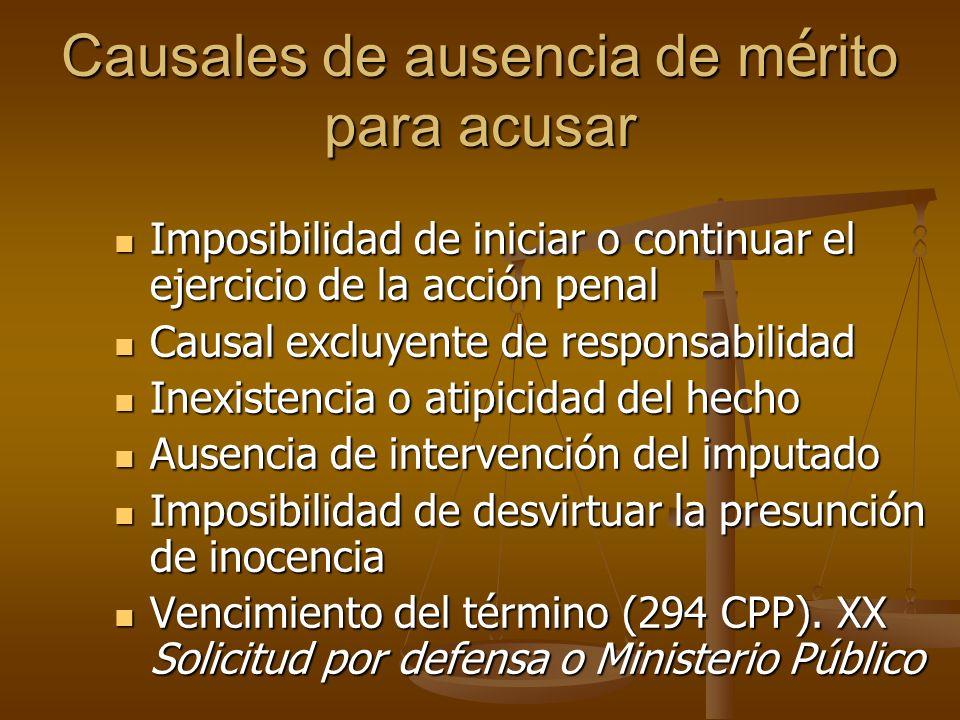 Causales de ausencia de m é rito para acusar Imposibilidad de iniciar o continuar el ejercicio de la acción penal Imposibilidad de iniciar o continuar
