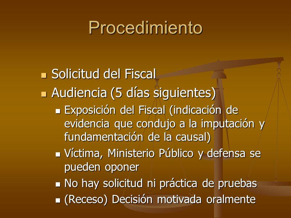 Procedimiento Solicitud del Fiscal Solicitud del Fiscal Audiencia (5 días siguientes) Audiencia (5 días siguientes) Exposición del Fiscal (indicación