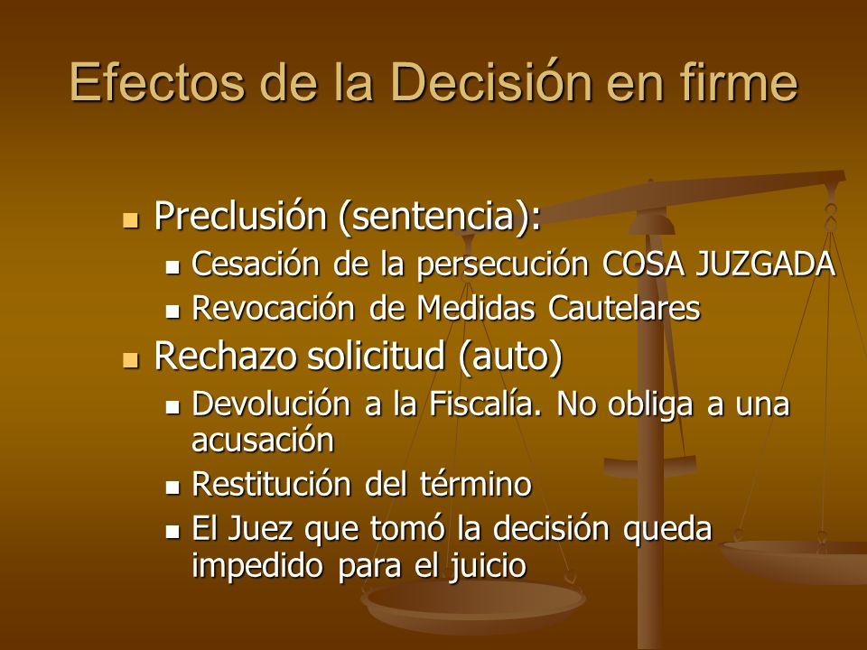 Efectos de la Decisi ó n en firme Preclusión (sentencia): Preclusión (sentencia): Cesación de la persecución COSA JUZGADA Cesación de la persecución C
