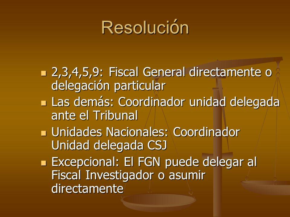Resoluci ó n 2,3,4,5,9: Fiscal General directamente o delegación particular 2,3,4,5,9: Fiscal General directamente o delegación particular Las demás: