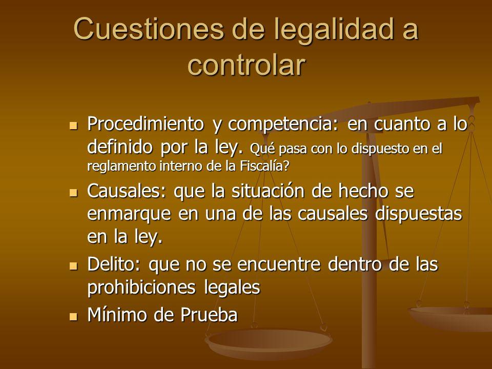 Cuestiones de legalidad a controlar Procedimiento y competencia: en cuanto a lo definido por la ley. Qué pasa con lo dispuesto en el reglamento intern