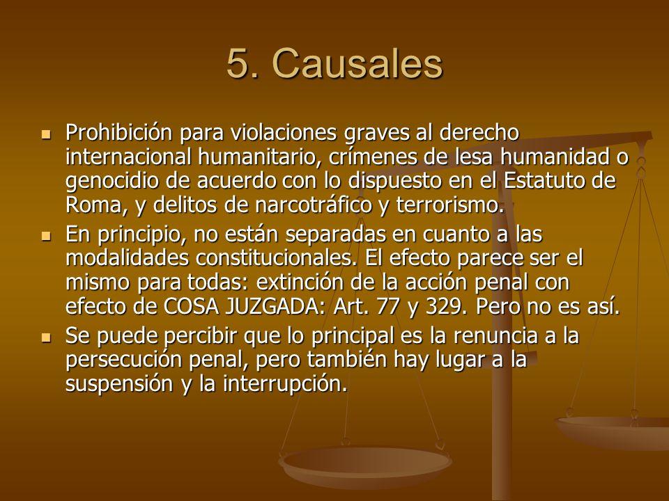 5. Causales Prohibición para violaciones graves al derecho internacional humanitario, crímenes de lesa humanidad o genocidio de acuerdo con lo dispues