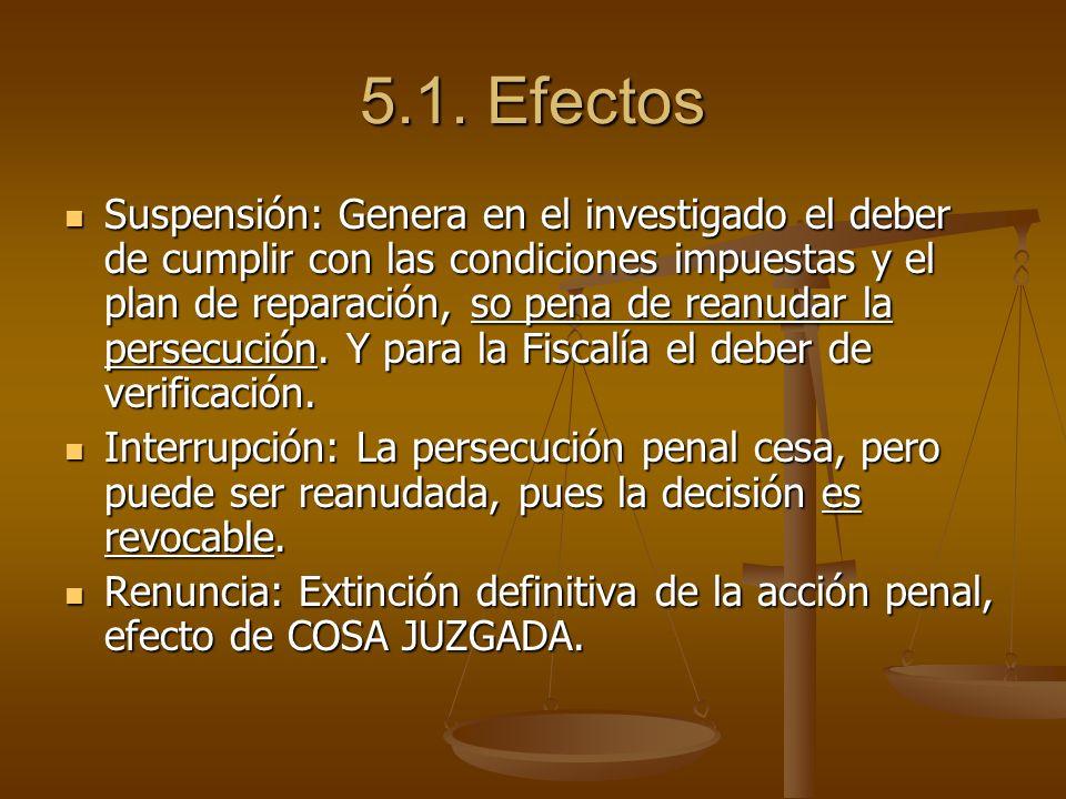 5.1. Efectos Suspensión: Genera en el investigado el deber de cumplir con las condiciones impuestas y el plan de reparación, so pena de reanudar la pe