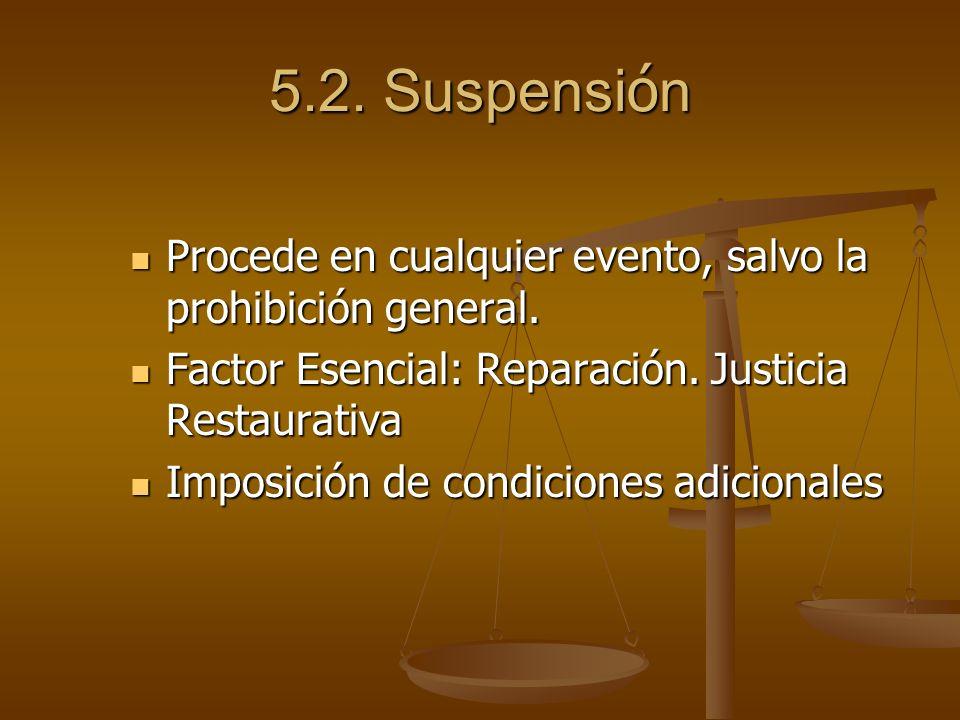 5.2. Suspensi ó n Procede en cualquier evento, salvo la prohibición general. Procede en cualquier evento, salvo la prohibición general. Factor Esencia