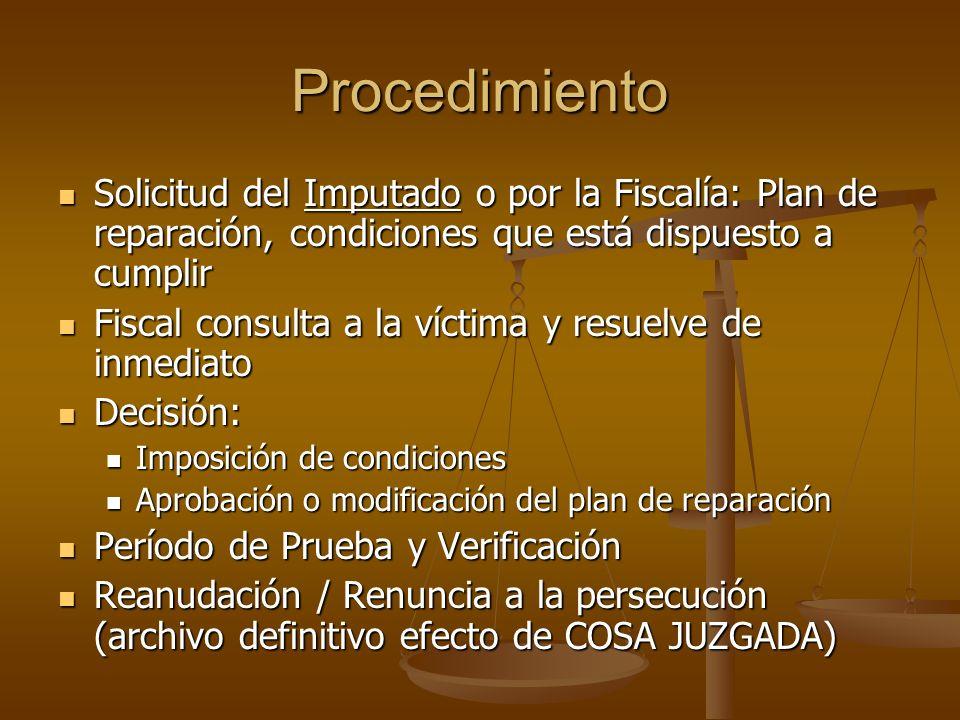Procedimiento Solicitud del Imputado o por la Fiscalía: Plan de reparación, condiciones que está dispuesto a cumplir Solicitud del Imputado o por la F